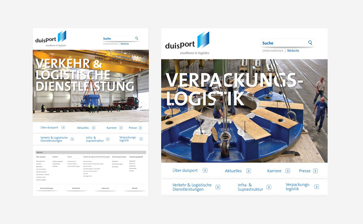Duisport – Redesign Website - Teaserbild
