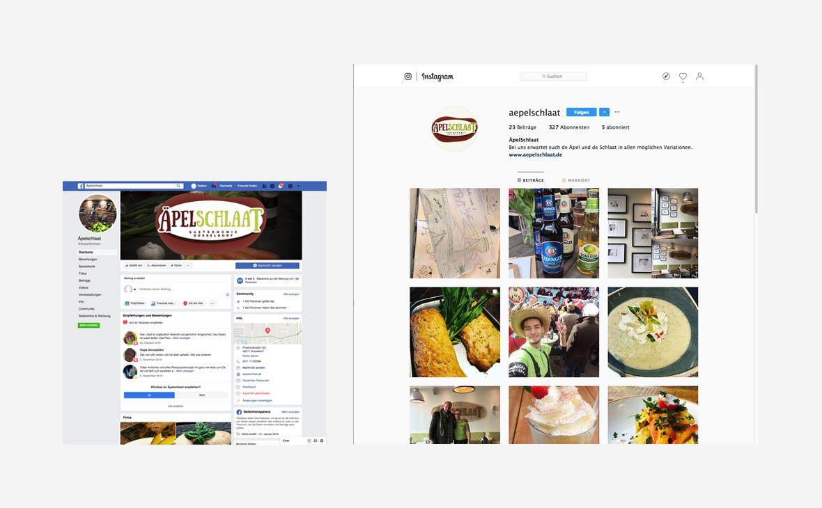 Äpelschlaat: Facebook und Instagram